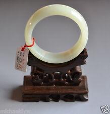 Certified Fine Old Chinese Hetian Nephrite Celadon Jade Bracelet Bangle 60mm