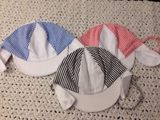 Lot Of 3 Baby Infant Hats - Striped With Elastic And Straps! NWOT! Too Cute