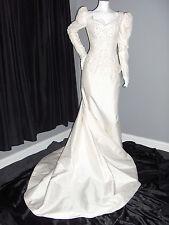 SZ 8 WEDDING GOWN DRESS WHITE SILK SLIT DETACHABLE TRAIN STRAIGHT PEARLS LACE