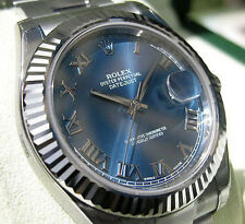 Rolex DATEJUST II 116334 Mens Steel & 18K White Gold Blue Roman Dial Oyster 41MM