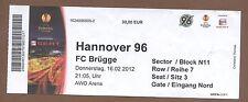 Orig. Ticket Europa League 11/12 Hannover 96-FC Brügge/Brugge KV!!! SELTEN