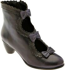 EVERYBODY SHOES EGGPLANT PURPLE LEATHER VINCI BOOTIES BOW DETAIL 39 ANKLE BOOT