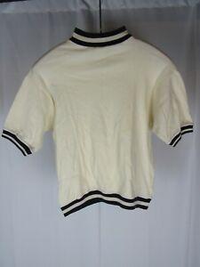Vtg 50s 60s Reis Mod T Shirt Striped Trim Hollywood Beatnik Surf Cotton USA Sz S