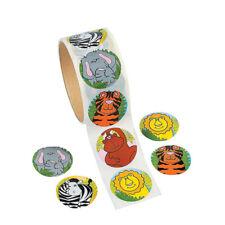 100 Pcs Fun Express Zoo Animal Sticker Roll Kids Cartoon Stickers Decal Reward*