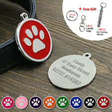 Round Personalized Pet Dog ID Tags Paw Print Disc Single Side Engraved Free Tag