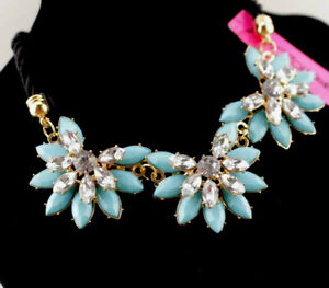Betsey Johnson Fashion Rhinestone Flower pearl leather cord Weave necklace Women