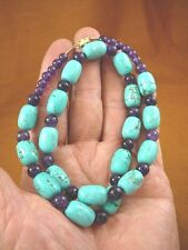 "(v326-80) 16"" long Chinese turquoise + purple Amethyst beaded gemstone Necklace"
