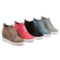 Ladies Hidden Wedge Low Mid Heel Ankle Boots Casual Sneakers Zipper Up Trainers