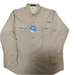 NWT Columbia mens sz 3XT PFG Long Sleeve Button Up Shirt vented gray