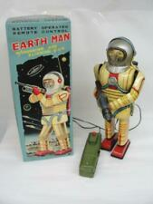 RARE 1950'S NOMURA JAPAN BATTERY OP EARTH MAN SPACE ROBOT TOY W/ REPRO BOX