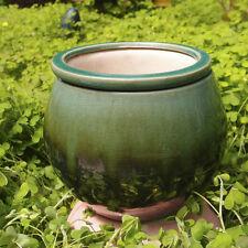 Garden Treasures Metallic Green Ceramic Self Watering Planter Pot Indoor Outdoor