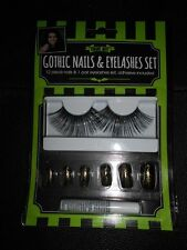 Gothic Nails & Eyelash Set with Glue BNIP 12 Spiders Web Black Nails Fancy Dress