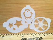 Face paint stencils christmas penguin snowflake & stars Myler 2.5  x 1.75in