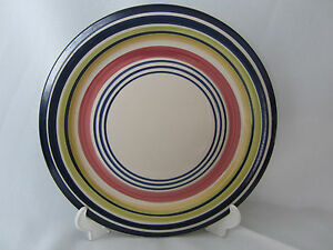 Pier 1 Stoneware Cabana Dinner Plate 10.5 inches Blue Green Pink Yellow Circles