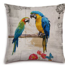 "Cotton Linen Square Cushion Cover Square 18""x18"" Inch Birds"
