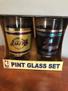 Set Of 2 NBA Los Angeles Lakers Basketball Pint Glass 2018 New In Box NIB