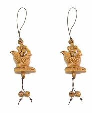2 Brown Rooster with Star Flower Cell Phone Good Luck Charm Strap Accessory Gift