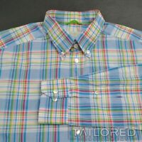 ETON Blue Plaid Check 100% Cotton SLIM Mens Casual Dress Shirt - LARGE