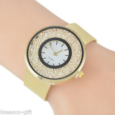 Women Fashion Stainless Steel Quicksand Lovers Bracelet Watch Quartz Wristwatch