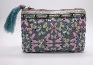 BNWT Accessorize Pretty Mink Pink Coin Purse With Pink & Blue Butterfly Design