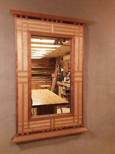 Handcrafted Arts & Crafts Mirror Black Cherry, Sugar Maple and White Oak