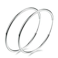 925 Silver Big Large Round Circle Ear Hoop Women's Earring Wedding Jewelry Sexy