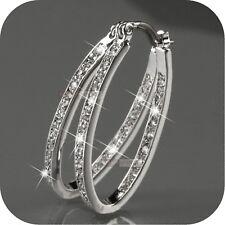 Women's 9K Gold Filled Silver CZ Crystal Big Hoop Huggie Earrings Wedding Eer