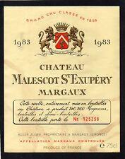 MARGAUX 3E GCC ETIQUETTE CHATEAU MALESCOT ST EXUPERY 1983 NUMEROTEE §21/03/18§