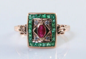 COMBO 9K 9CT ROSE GOLD RUBY & COLOMBIAN EMERALD ART DECO INS HARLEQUIN RING