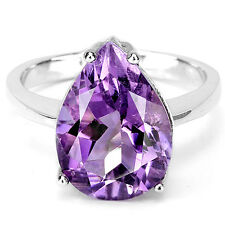 Plata 925 Pera corte facetado púrpura amatista Anillo, Talla n (Estados Unidos 6.75)