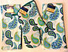 3 Piece Blue Teal Turquoise Paisley Kitchen Set 2 Dish Towels 1 Oven Mitt NWT
