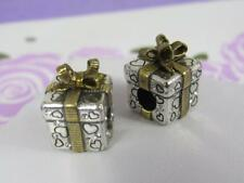 BRIGHTON 2  CHRISTMAS PRESENT STOPPERS / CHARM / BEAD / SPACER  NWOT  GOLD/SIL