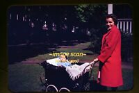 Woman w/ Baby in Carriage in Pennsylvania in 1940's, Kodachrome Slide dia f13a