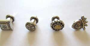 Brighton Push Pins- Set of Four- silver & gold color- round square heart oval