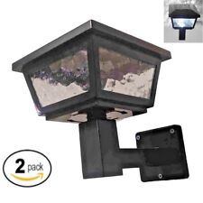 Black Color Solar Light Post Cap Dual SMD Wall Mount or Post (2 Pack) PL254B