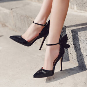 New Women Sexy Pointy Toe Buckle Butterfly High Heels Bling Wedding Bridal Shoes