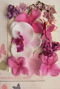 PAPER & SILK 8 Mixed Styles RED VIOLET 5 Tones 24 Flowers 10-80mm H2