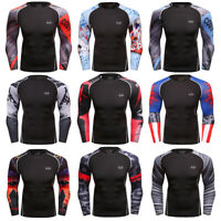 Mens Workout Shirt Athletic Gym Top Running Basketball Long sleeve Print Dri fit