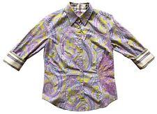ROBERT GRAHAM Women's Paisley Cotton Shirt Button-Down Sz S 3/4 Sleeve Flip Cuff