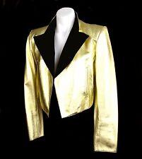 Vintage Saint Laurent Rive Gauche Gold Leather Cropped Jacket - Sz 6/8 (EU 38)
