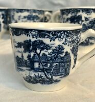 Set of 12 Blue & White Porcelain Polygon-Shaped Tea Cups