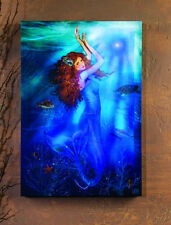 """Lighted Mermaid Magic Canvas 21""""H Nautical Blue Wall Hanging Art Picture Lights"""