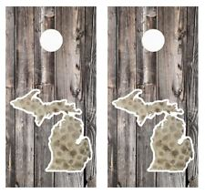 Michigan Petoskey Stone Barnwood Cornhole Board Wraps Free Laminate #2800