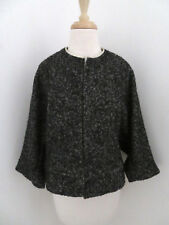 A DETACHER Birdseye tweed jacket sz 4 open front Dolman sleeves wool blend