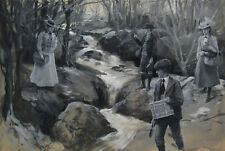 Figures by Stream OLD Antique Signed American Impressionist Gouache Painting NR