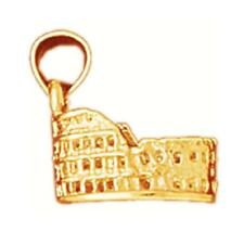 14k Yellow Gold ROMAN COLISEUM 3D Pendant / Charm, Made in USA