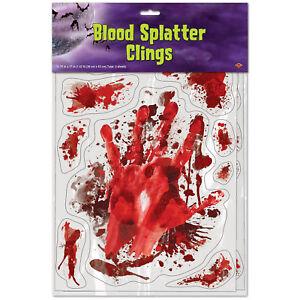 Halloween Bloody Handprint Splatter Window Sticker Clings Party Decorations