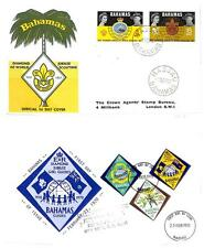 BAHAMAS BOY SCOUTS SCOTT #267-68 & 298-300 STAMP SETS ON FDC FIRST DAY COVERS