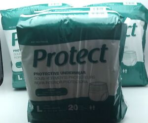 Medline Protect Protective Underwear Size Large (L) 80 Count Unisex 4 PACK 20x4