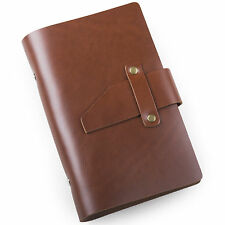 Ancicraft Small Classic Leather Journal with Strap A6 Lined Paper Red Brown Gift